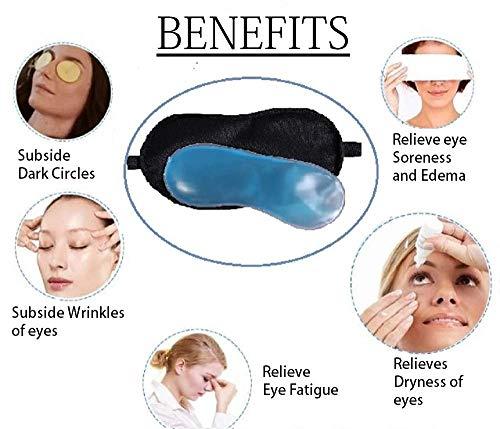 TASHKURSTTM Sleeping Rest Ice Gel Eye Mask for Resting, Insomnia, Meditation, Puffy Eye's and Dark Circles (Black : 1PC)