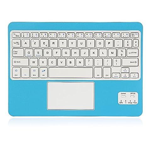 Clavier AZERTY Bluetooth 3.0 avec Touchpad tactile, Tablette Clavier Bluetooth pour tout système Windows Android OS Bluetooth Devices, fonctionner avec Tablette Ordinateur PC