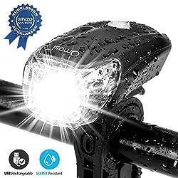 Omasi Fahrradbeleuchtung LED StVZO Zugelassen Fahrradlicht Fahrradlampe USB Wiederaufladbar Fahrrad Frontlicht Wasserdicht Fahrradleuchte 1200mAh Akku MTB Rennrad Schwarz