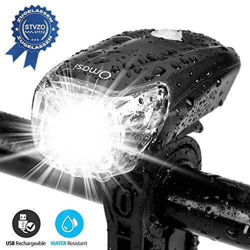 Omasi Fahrradbeleuchtung LED StVZO Zugelassen Fahrradlicht Fahrradlampe USB Wiederaufladbar Fahrrad Frontlicht Wasserdicht Fahrradleuchte 1200mAh Akku MTB Rennrad Schwarz -