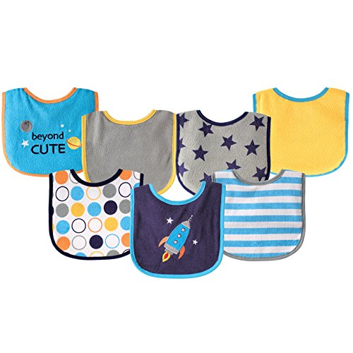 Luvable Friends 7 Piece Drooler Bibs with Waterproof Backing, Blue Spaceship by Luvable Friends