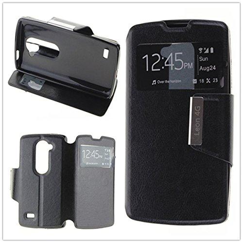 Misemiya ® Funda LG Leon 4G LTE (H340N) Libro Agenda View Soporte - Negro