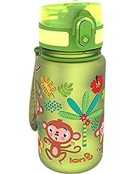 """Botella de agua para niños Ion8 a prueba de fugas, con imágenes de """"monos"""