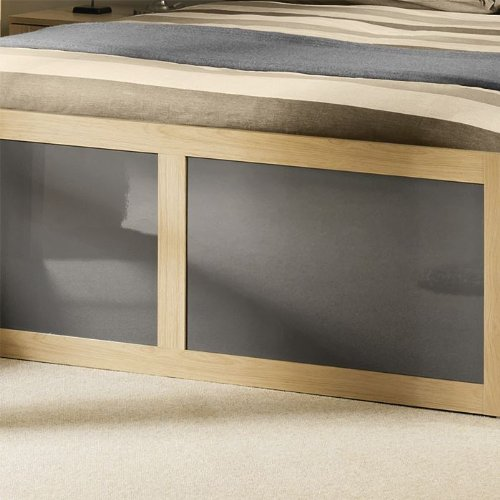 Happy Beds Strada Light Oak with Grey Inserts Wooden Storage Bed 2 Drawers Frame 5' King Size 150 x 200 cm