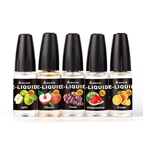 Salcar® E Liquid Juice Fruit Shisha Liquid 10 Flavours | Apple, Pineapple, Banana, Blueberry, Orange, Peach, Grape, Watermelon, Cherry, Kiwi-smoothie | Vape VG Juice | for Vapour E Shisha E Cigarette E cig | Vape Liquid Flavouring, No Nicotine