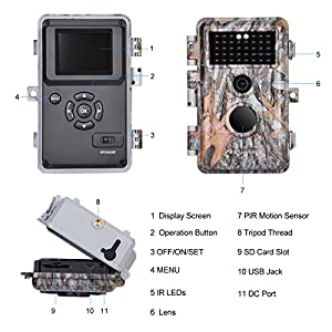 """BlazeVideo 16MP HD No Glow Infrared Scouting Game Camera, Trail Hunting Wildlife Animals Cam Motion Sensor Activated Waterproof Night Vision 40pcs IR LED, Take Picture, Video Record, 2.36"""" LCD Screen"""