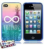 Muzzano - Carcasa para iPhone 4/iPhone 4S (ultrafina), diseño de símbolo de infinito y palabra Friends azul: Infinity Friends