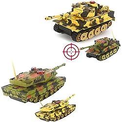 German Leopard 2A5VS German Tiger I–2x tanque teledirigido Battle Juego de combate,, disparos Simulación, sonido e iluminación, Set completo