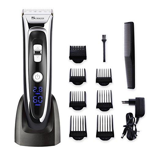 SURKER Profi Haarschneide Set Haarschneider Für Herren Haarschneidemaschine Haircut Set mit 7 Aufsätzen All in One Lithium Wiederaufladbare Trimmer Haarrasierer mit LED-Display