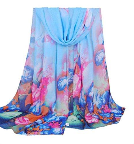 Preisvergleich Produktbild Tongshi Vase Frauen lange Soft Wrap Damen Chiffon Schal,blau