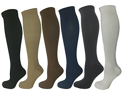 6-Pairs-Knee-High-Graduated-Compression-Socks-For-Women-and-Men-Best-Medical-Nursing-Maternity-Pregnancy-and-Travel-Socks-15-20mmHg