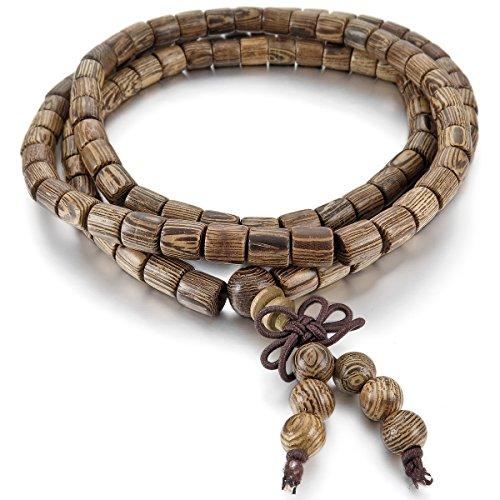 mband Link Handgelenk Halskette Tibetische Buddhist Buddhistischen Braun Kugel Perle Perlen Gebet Buddha Gebet Mala Chinesisch Knoten Dreiecksknoten Elastisch Herren,Damen (Chinesische Armbänder)