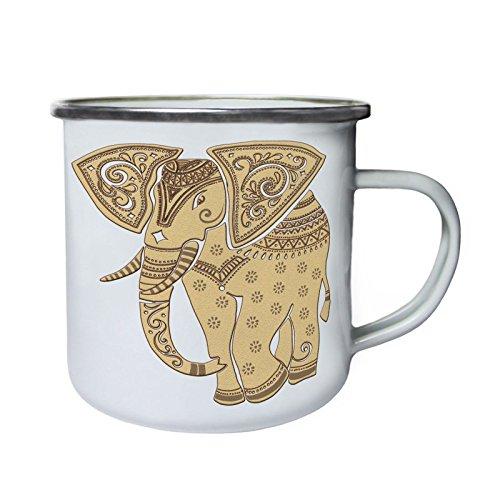 Elefant India motivos étnicos Retro, lata, taza del esmalte 10oz/280ml aa919e