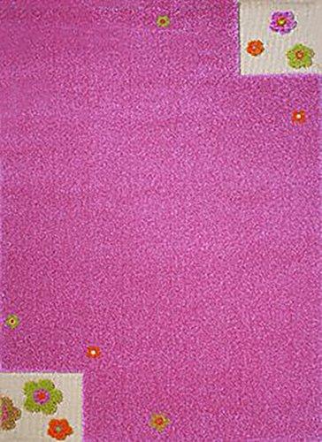 IVI Little Helper Hypoallergen 3D Prägung Teppich (80x 150cm, pink, Flower Garden)