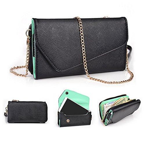 Kroo d'embrayage portefeuille avec dragonne et sangle bandoulière pour Samsung Galaxy Grand 2 Black and Orange Black and Green