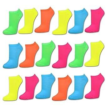 9 Paar NEON Sneaker Socken Damen Sneakersocken Füßlinge Damensocken - 36241 (35-38, Farbmix)