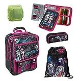 Familando Monster High Schulranzen Schulrucksack Set 5tlg. Federmappe gefüllt Schlamper Turnbeutel MHCP8300
