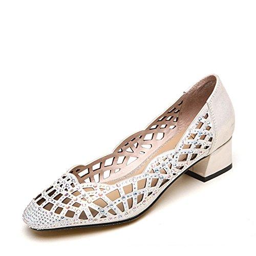 XY&GKSommer Sandalen Leder Einzel der Frauen Sommer Hohle Diamant mit Grob mit großen Werften die Sandalen Damen Sandalen, komfortabel und schön 38 Silver