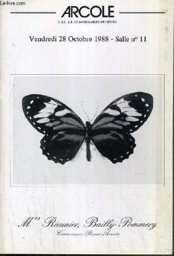 CATALOGUE DE VENTE AUX ENCHERES - DROUOT RICHELIEU - ENTOMOLOGIE - LEPIDOPTERES et COLEOPTERES - SALLE 11 - 28 OCOTBRE 1988. par RIEUNIER & BAILLY-POMMERY