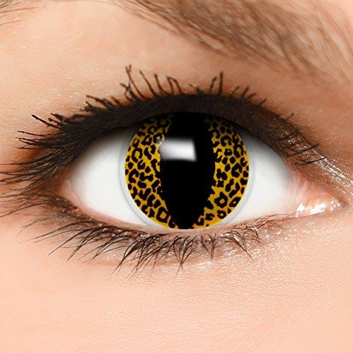 Farbige Kontaktlinsen Leopard in schwarz gelb + Behälter - Top Linsenfinder Markenqualität, 1Paar (2 Stück)