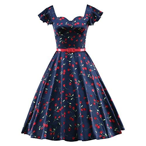 LUOUSE Damen Rockabilly Kleid Retro 50er Kleid Festliche Kleider Kirschmuster Cocktailkleid,Blue,XXXL