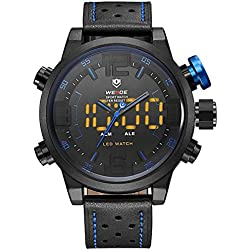 Alienwork LED Analogue-Digital Watch XXL Oversized Wristwatch Multi-function Leather blue black OS.WH-5210-B-4