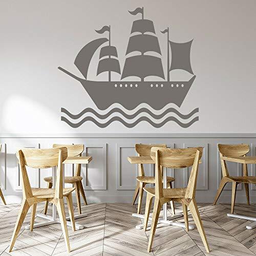 Geiqianjiumai Océan Navire Bateau de Pirate Stickers muraux Jeunesse Chambre bébé Chambre d'enfant décoration de la Maison Salon Gris 36x42cm