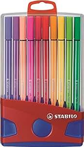Feutre de dessin - STABILO Pen 68 - ColorParade rouge de 20 feutres pointe moyenne avec attache - Coloris assortis