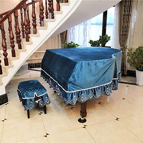 Dreieck-Klavier-Abdeckungs-Gewebe-hochwertiger Staubschutz Mit Schemel-Abdeckung, Gestickter Spitze-Entwurfs-Möbel-Schutz-Abdeckungs-Stoff ( Color : Blue , Size : 210cm+Stool Cover(Double) ) - Blues Dreieck