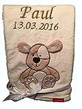 Babydecke bestickt mit Name und Geburtsdatum / kuschelig weich / 1A Qualität (Beige - HUND)