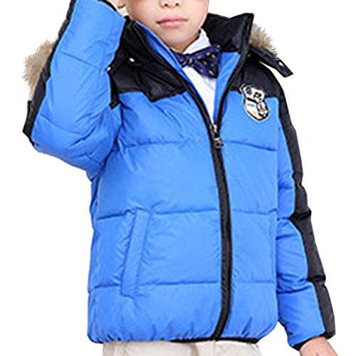 Dr.mama Winterjacke für Jungen Daunenmantel Kinder Jungen Steppjacke mit Fellkapuze verdickte Daunenjacke Outerwear