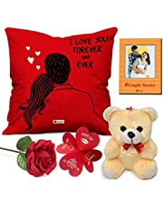 """Indigifts Valentine Gift for Husband Special Cushion Cover 12""""x12"""" with Filler, Cute Teddy, Artificial Rose & Photo Magnet - Valentine Day Gifts for Girlfriend"""