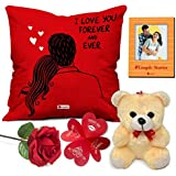"""Indigifts Valentine Gift for Husband Special Cushion Cover 12""""x12"""" with Filler, Cute Teddy, Artificial Rose & Photo Magnet - Valentine Day Gifts for Girlfriend/Boyfriend, for Wife"""