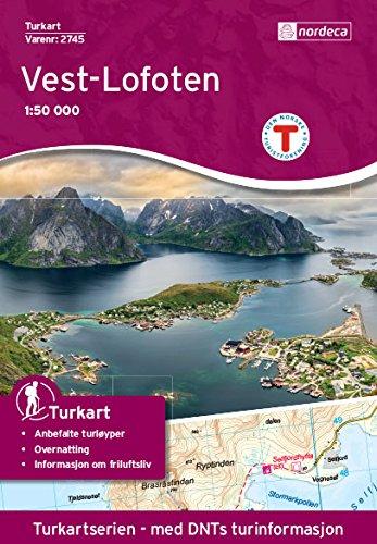 Preisvergleich Produktbild Norwegen topographische Wanderkarte Vest-Lofoten: Flakstadøy,  Moskenesøya,  Værøy,  Røst,  Reine,  Moskenes,  Flakstad,  Fredvang,  Hermannsdalstinden,  Måhornet,  Turkart 1:50.000