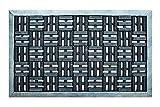 FabaHome Fußmatte Türmatte Gummi mit Parkettmuster, Stift Schmutzfangmatte Schmutzmatte, sehr robust, wetterfest, Schuhabtreter 75 x 45 cm, Silber