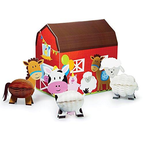 Creative Converting Farmhouse Fun Mittelpunkt mit 3D BARN & Honeycomb Tiere (Von Einer Kostüm Anderen Farbe Pferd)
