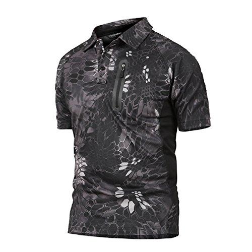 Polo Camuflaje Militar Uniforme táctico de Secado rápido Manga Corta Camiseta de los Hombres Airsoft Combat Caza de la Cremallera Camiseta Pitón Negro x-Large