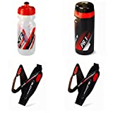 Raceone.it - KIT Race Trio X5 Gel (4 PCS): 2 Bottle Cage X5 + Bike Water Bottle XR1 + ToolBox PR1 - Bottlecage for Race Cycling / MTB / Gravel. Color: Black / Red 100% MADE IN ITALY