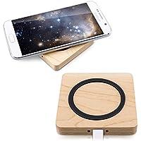 kwmobile Chargeur Qi sans Fil - Station de Chargement Smartphone - Socle en Bois avec cble Micro USB - Charge Rapide de Téléphone par Induction
