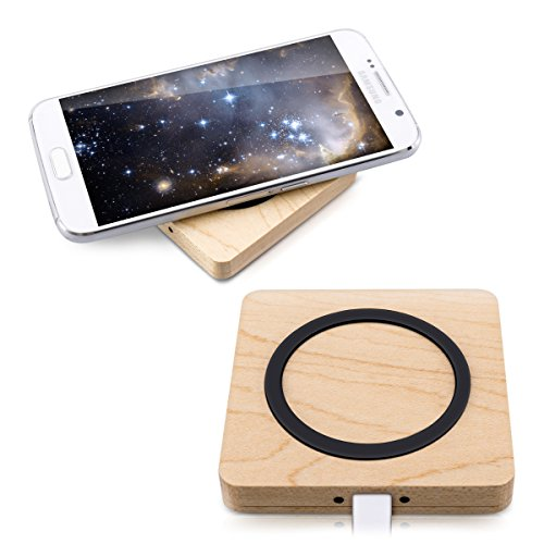 kwmobile kabelloses Qi Ladegerät wireless Charger - kabellos Laden durch Induktion - Ladestation für iPhone Samsung Smartphone Handy - aus Holz Smart-handy T-mobil