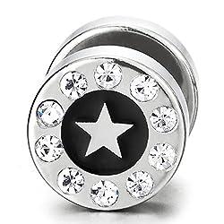 10MM C rculo Estrella Pendientes con Circonita Negro Esmalte Acero Enchufe Falso Fake Cheater Plugs Gauges Hombre Mujer