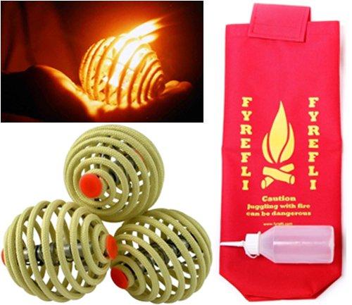 FyreFli Fire Jonglierbälle–80mm/gratis Tasche & Kraftstoff Flasche