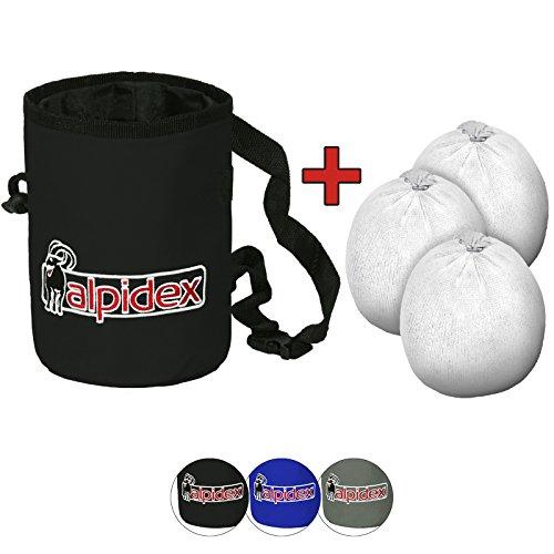 ALPIDEX Chalkbag inklusive 3 x Chalk Ball 35 g Kletterkreide Bouldern Klettern Fitness Gym Turnen Gewichtheben, Farbe:Black Rock