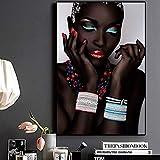 XCSMWJA Labbra E Unghie della Donna Africana Nuda Nera Quadri E Stampe su Tela Immagine di Quadri per Soggiorno 50 * 70Cm