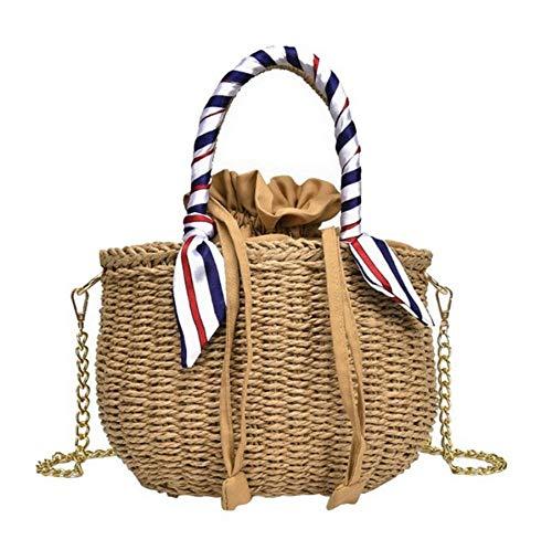 Dwqlx Runde Stroh Umhängetasche Damen Vintage Handgefertigte Handtasche Kreis Rattan Tasche Strandtasche Stroh Tasche @ A