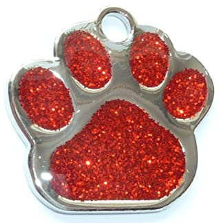 Engraved 27mm Glitter RED Paw Shaped Pet ID Tag - In Stock and Supplied by Busy Bits 7