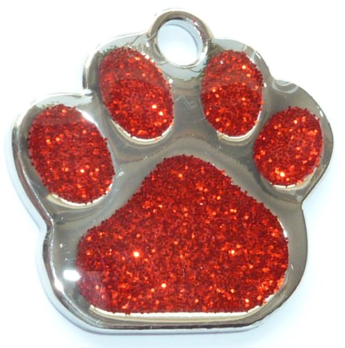 Engraved 27mm Glitter RED Paw Shaped Pet ID Tag - In Stock and Supplied by Busy Bits 1