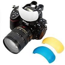 BlueBeach® Pop Up difusor de flash con naranja, blanco y filtro de color azul compatible con Canon Nikon Sony Pentax Panasonic Fuji JVC Kodak Digital DSLR Flash de la cámara