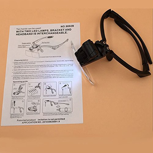 zantec Lupe für Brillen, verstellbare Freisprecheinrichtung Magnifier mit 2LED Light Headset Sonnenbrille Lupe für die Reparatur, Handwerk, austauschbare 1.0x To 3,5x