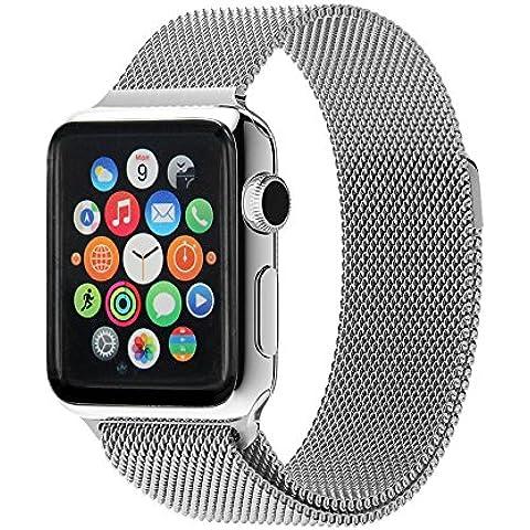 Ultra ® Plata de calidad superior de 42 mm Milanese Bucle de acero inoxidable Correa para relojes de Apple de 42 mm de espesor incluyendo adaptadores de 42mm con adaptadores y una correa